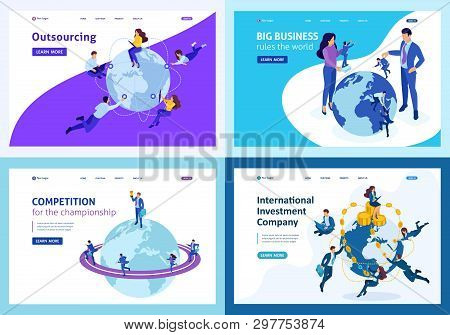 Set Of Landing Pages Isometric Concept World Domination, Management And Cooperation Around The World