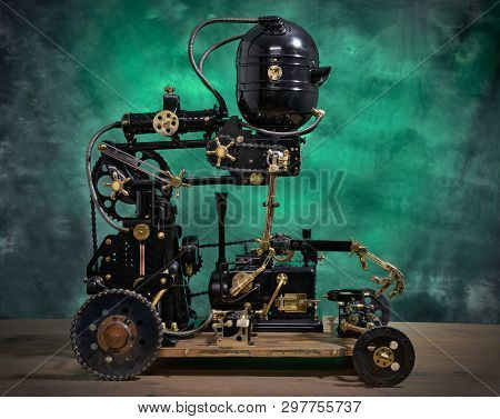 Mechanical servant model on a white background. Style Steampunk. poster