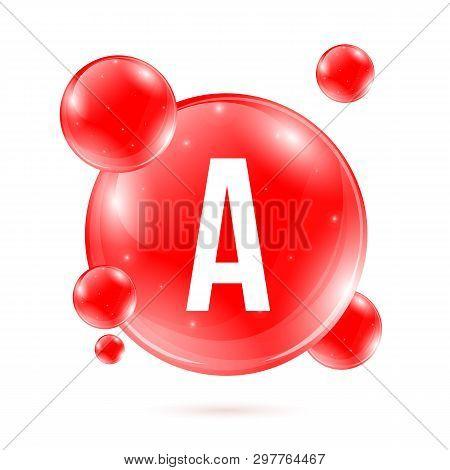 Creative Vector Illustration Of Vitamin A. Chemical Formula, Retinol, Beta Carotene, Retinal. Drop P