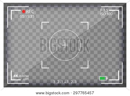Creative Vector Illustration Of Camera Viewfinder Isolated On Background. Art Design Mirorless, Dslr