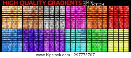 Vector Set Of Colorful Gradients. Big Collection Colorful Metallic Gradients Consisting  Backgrounds