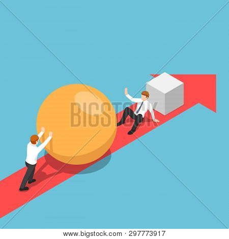 Flat 3d Isometric Smart Businessman With Sphere Go Faster Than His Rival And Be Able To Eliminate Hi