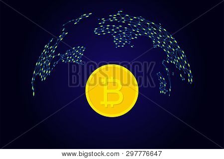 Bitcoin Crypto Currency Coin In Flat Design. Vector Illustration