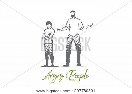 Son, Dad, Child, Angry, Scold, Naughty Concept. Hand Drawn Naughty Son And Dad Concept Sketch. Isola