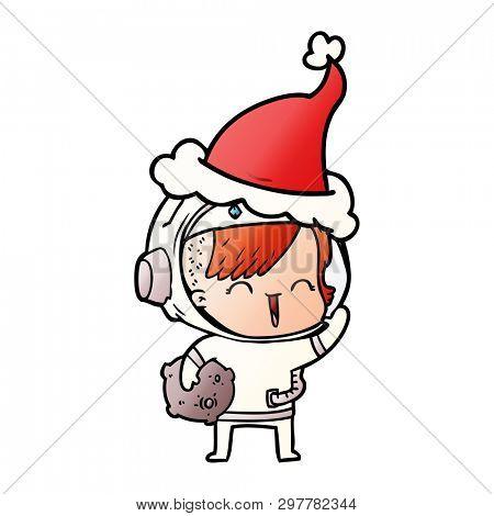 hand drawn gradient cartoon of a happy spacegirl holding moon rock wearing santa hat