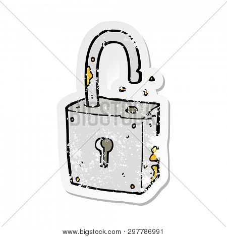 retro distressed sticker of a caroon rusty old padlock