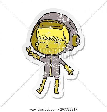 distressed sticker of a cartoon spacegirl making peace sign