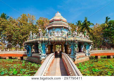 Hindu Temple And Pond With Lotus Flowers At Hampi, The Centre Of The Hindu Vijayanagara Empire In Ka