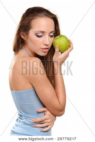Attractive healthy girl with apple