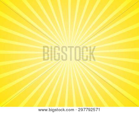 Sunburst Yellow Rays Pattern. Radial Sunburst Ray Background Vector Illustration. Sun Background