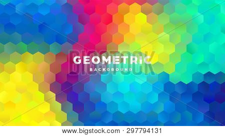 Hexagonal Polygonal Abstract Background. Colorful Triangle Gradient Design. Low Poly Hexagon Shape B