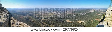 Overwhelming Panorama Of Hortus Mount From Pic Saint-loup Mountain In Languedoc-roussillon, The High