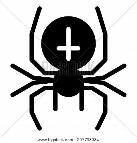 Spider With The Cross Solid Icon. Arachnid Vector Illustration Isolated On White. Black Widow Glyph