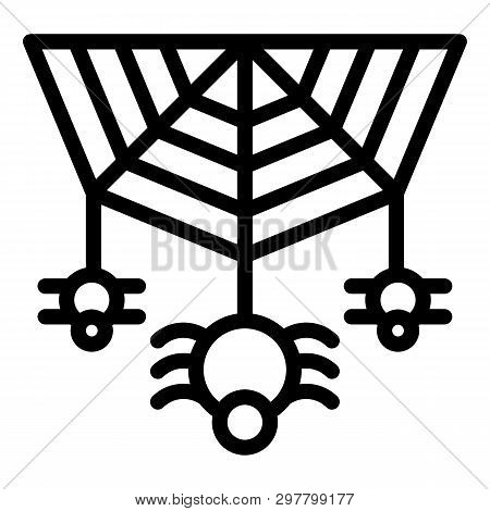 Spider On The Web Line Icon. Cobweb With The Spider Vector Illustration Isolated On White. Arachnid