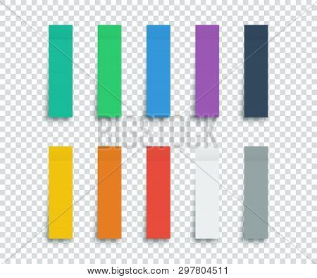 Colorful Stickers Set Isolated On Transparent Background. Stickers. Paper Stickers Tape With Shadow.