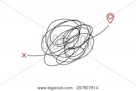 Insane Messy Way Complicated Destination Illustration Concept Graphic. Tangled Scribble Line Vector
