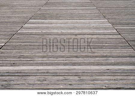 Weathered Old Wooden Boardwalk Or Footbridge Background