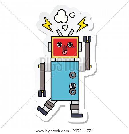 sticker of a cute cartoon robot malfunction