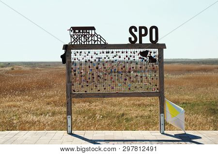 Sankt Peter Ording, Germany - April 20, 2019: Love Locks At The Beach. Spo Is Short For St. Peter-or