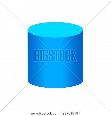 Blue Cylinder Basic Simple 3d Shapes Isolated On White Background, Geometric Cylinder Icon, 3d Shape