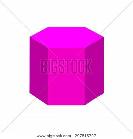 Purple Hexagonal Prism Basic Simple 3d Shapes Isolated On White Background, Geometric Hexagonal Pris