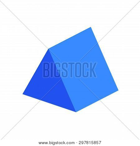 Blue Triangular Prism Basic Simple 3d Shape Isolated On White Background, Geometric Triangular Prism