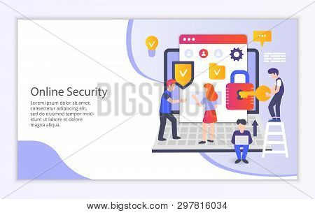 Creative Website Template Of Online Security Concept, Modern Flat Design Vector Illustration