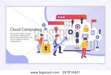 Creative Website Template Of Cloud Computing Concept, Modern Flat Design Vector Illustration