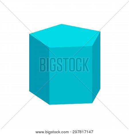 Blue Pentagonal Prism Basic Simple 3d Shape Isolated On White Background, Geometric Pentagonal Prism