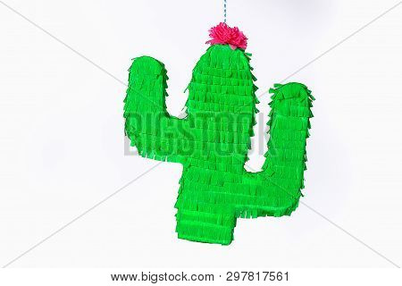 Diy Cinco De Mayo Mexican Pinata Cactus Made Cardboard And Crepe Paper Your Own Hands On A Blue Back