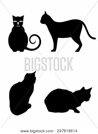 Black Silhouette Of Four Different Poses Of A Cat Vector On White Background