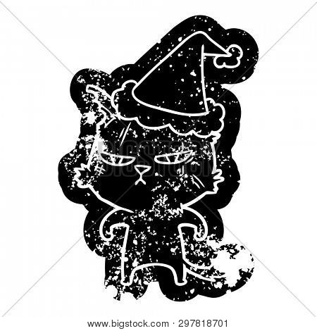 tough quirky cartoon distressed icon of a cat wearing santa hat poster