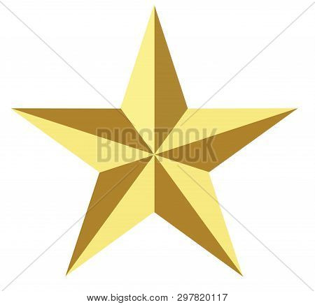 Gold Star Icon On White Background. Flat Style.gold Star Icon For Your Web Site Design, Logo, App, U