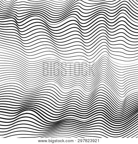 Black And White Dynamic Waves. Creative Subtle Curves. Undulating Thin Lines. Vector Monochrome Flui