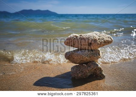 Tower From Corals On A Beautiful Beach In Thailand