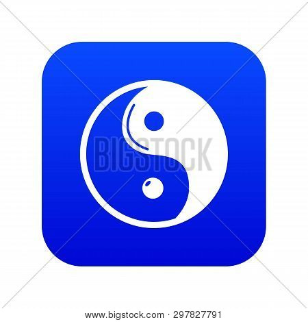 Yin yang symbol taoism icon blue vector isolated on white background poster