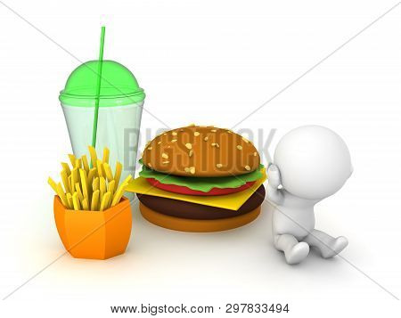 3D Character Feels Stressed From Junk Food