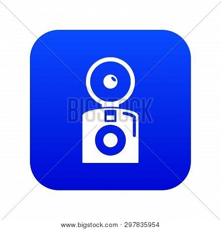 Oldschool Camera Icon Blue Vector Isolated On White Background