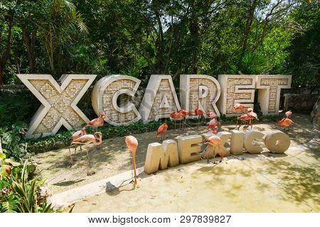 XCARET,MEXICO - APRIL 16,2019 : XCaret, a famous ecotourism park on the mexican Mayan Riviera
