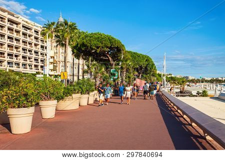 Cannes, France - September 24, 2018: Promenade De La Croisette Or Boulevard De La Croisette Is A Pro