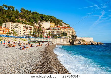 Nice, France - September 25, 2018: Plage Blue Beach Is A Main Beach In Nice City, Cote Dazur Region