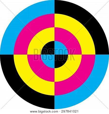 Cmyk Cyan Magenta Yellow Black Target Circle Background Designer Graphic