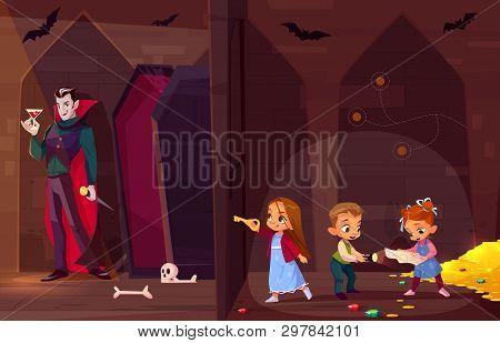 Quest Escape Room For Kids Entertainment Cartoon Vector Concept. Little Children With Map And Flash