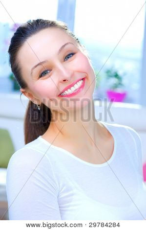Happy Young Woman Portrait. Smile