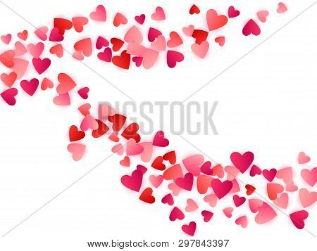 Red Flying Hearts Bright Love Passion Vector Background. Cartoon Confetti Love Signs Pattern. Glorio