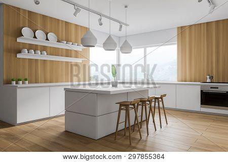 Wood And White Kitchen Corner, Bar And Shelves