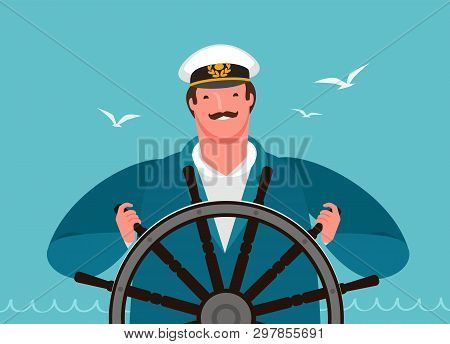 Sailor At The Helm Of The Ship. Sailing, Cruise Vector Illustration