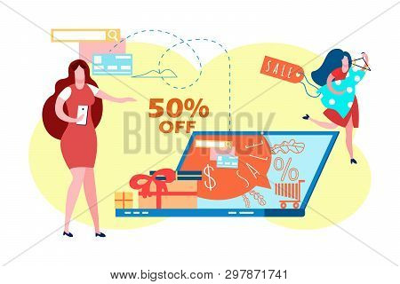 E Commerce Sale, Discount Flat Vector Illustration. Online Shopping. Buyer Seeking For Cheap Dresses