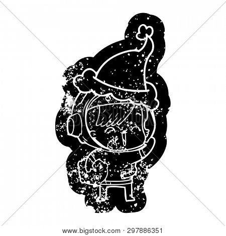 quirky cartoon distressed icon of a happy spacegirl holding moon rock wearing santa hat