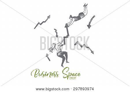 Business, Arrow, Woman, Rivalry, Success, Contest Concept. Hand Drawn Businesswomen Hold An Arrow Co